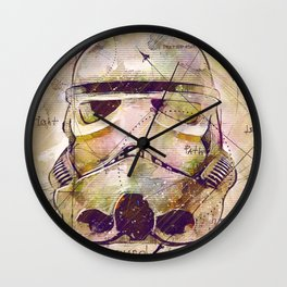 Storm Trooper Drawing On Textured Paper Wall Clock