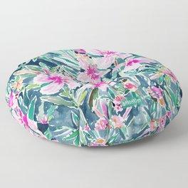 LUSH OLEANDER Tropical Watercolor Floral Floor Pillow