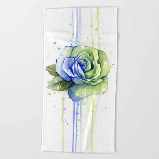 Flower Rose Watercolor Painting 12th Man Art Beach Towel