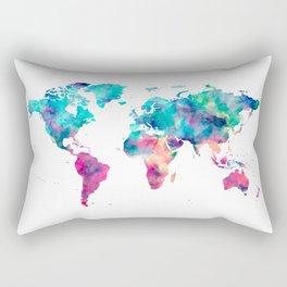 World Map Turquoise Pink Blue Green Rectangular Pillow