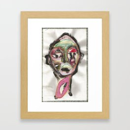 favue face textile painting Framed Art Print