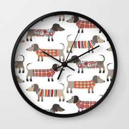 Sausage Dogs in Sweaters Wall Clock