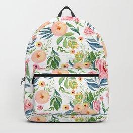 Elegant Roses Coral Pink + Green Backpack