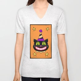 Vintage Halloween Black Cat Unisex V-Neck