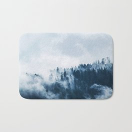 CLOUDS - WHITE - FOG - TREES - FOREST - LANDSCAPE - NATURE - TIMBER - WOODS - PHOTOGRAPHY Bath Mat