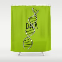 dna Shower Curtains featuring dna by muffa