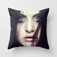 fear Throw Pillows featuring Fear by Funkygirl4ever95
