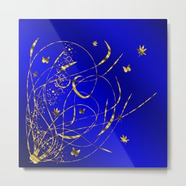 blue festive shiny metal pattern with small butterflies, Asian flowers and drops of water Metal Print
