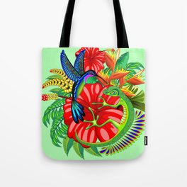 The Lizard, The Hummingbird and The Hibiscus Tote Bag