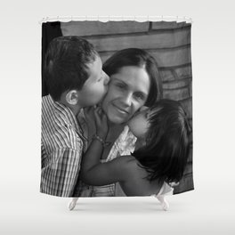 Tender Moments Between A Mother And Her Children Shower Curtain