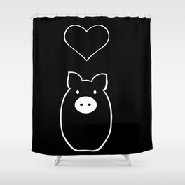 Monochrome Pig in Love Shower Curtain