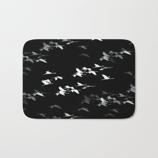 Abstract crane flock  Bath Mat