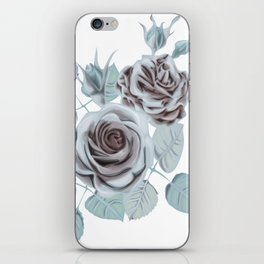 Winter roses stylized vintage art iPhone Skin