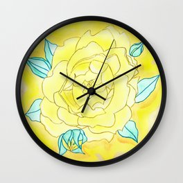 Neutral Rose Watercolor Wall Clock