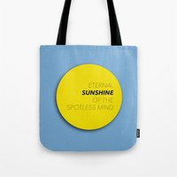 eternal sunshine of the spotless mind Tote Bags featuring Eternal Sunshine of the Spotless Mind by kirstenariel