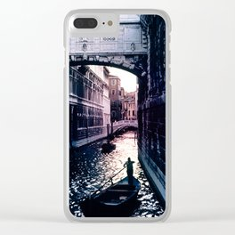 Gondola in Venice Canal At End of Day Clear iPhone Case