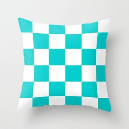 Large Checkered - White and Cyan Throw Pillow