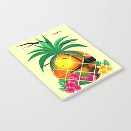 Pineapple Tropical Sunset, Palm Tree and Flowers Notebook