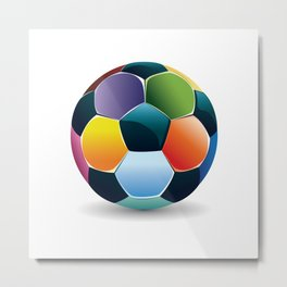 Colorful Soccer Ball Metal Print