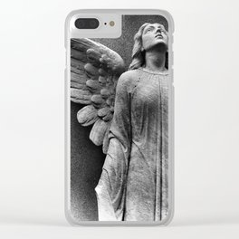 Female Angel Looking Upwards #faith #Christmas Clear iPhone Case