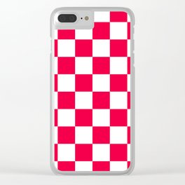 Cheerful Red Checkerboard Pattern Clear iPhone Case