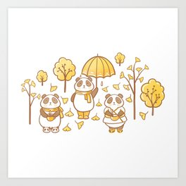Pandas and ginkgo Art Print