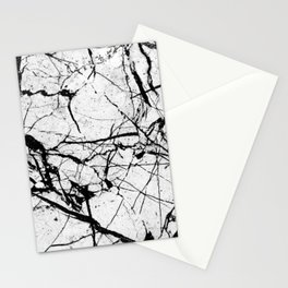 Dusty White Marble - Textured Black And White Stationery Cards