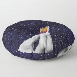 Rolling Flower in Space Floor Pillow