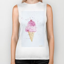 Ice cream Love Summer Watercolor Illustration Biker Tank