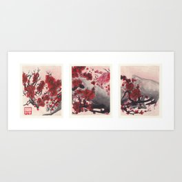 Red Cherry Blossoms Triptych Art Print