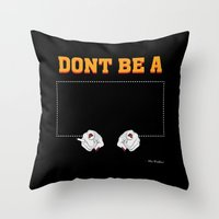 mia wallace Throw Pillows featuring Don't Be a Square / Mia Wallace by Woah Jonny