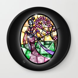 Stained Glass Mulan Wall Clock