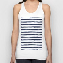 Navy Blue Stripes on White Unisex Tank Top