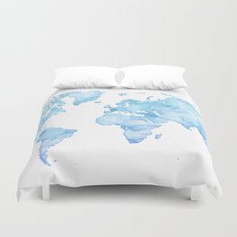 Light blue watercolor world map Duvet Cover