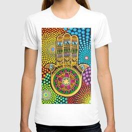 Hamsa Hand, hand of fatima, mandala, yoga art, mandala art, meditation art T-shirt