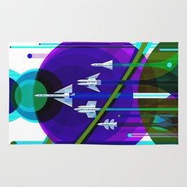 NASA Space Saturn Shuttle Retro Poster Futuristic Explorer Blue Rug