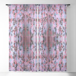 Flowers And Necker Cubes Sheer Curtain
