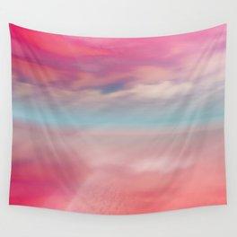 """Rose quartz sky on beach shore"" Wall Tapestry"