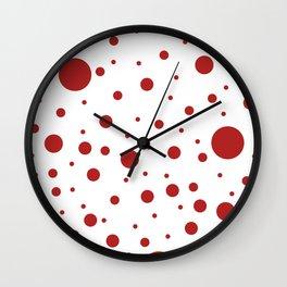 Mixed Polka Dots - Firebrick Red on White Wall Clock