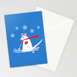 Christmas Mouse on Skis Stationery Cards