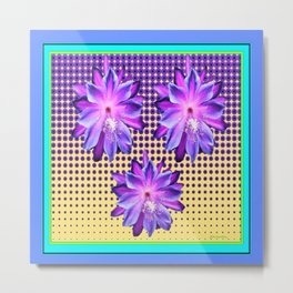 Exotic Lilac-Purple-BlueTropical Flowers yellow Optic Art Metal Print