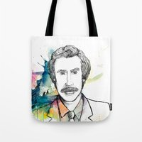 anchorman Tote Bags featuring Ron Burgundy, Anchorman of Legend by AnnieInk