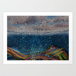 Ocean of Wires-Global Network Art Print