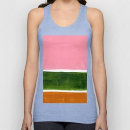 Colorful Minimalist Mid Century Modern Shapes Pink Olive Green Yellow Ochre Rothko Minimalist Square Unisex Tank Top