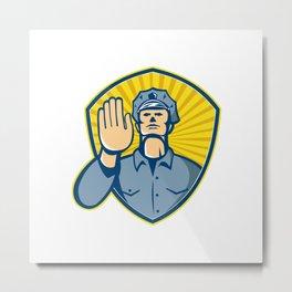 Policeman Police Officer Hand Stop Shield Metal Print