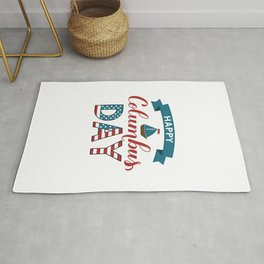 Happy Columbus Day calligraphy hand lettering  Rug