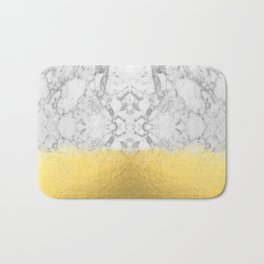 Marble with Brushed Gold - Gold foil, gold, marble, black and white, trendy, luxe, gold phone Bath Mat