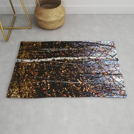 White Birch Tree Bright Gold Red Fall Leaves Landscape Pastel Texture Pattern Rug