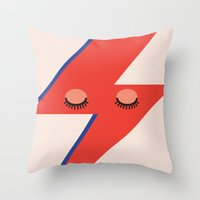 david bowie Throw Pillows featuring Music Minimals - David Bowie by Eric Crawford