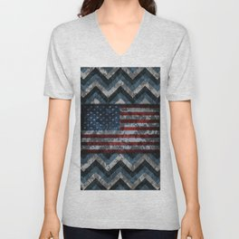 Blue Military Digital Camo Pattern with American Flag Unisex V-Neck